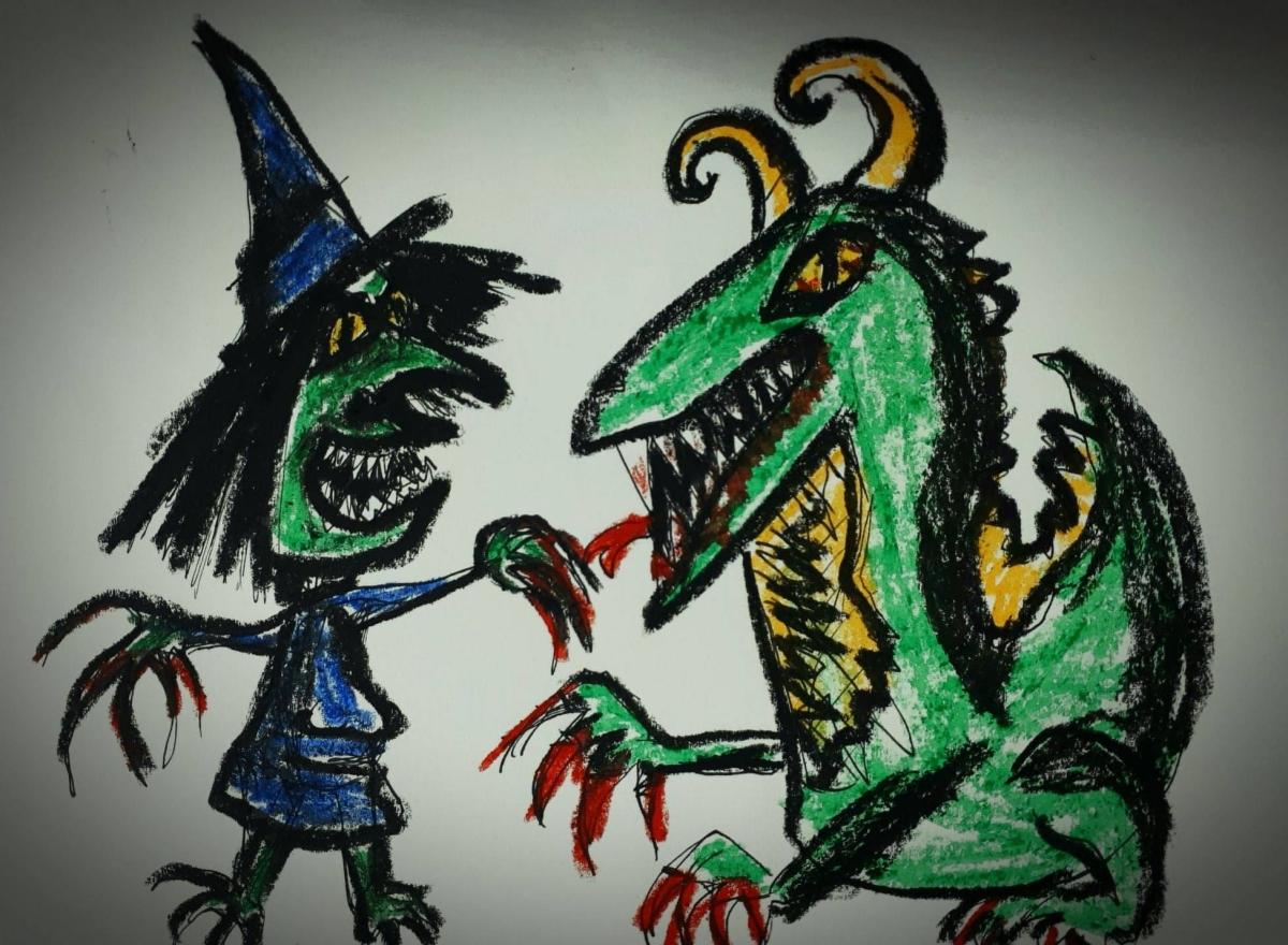 El dinosaurio y la bruja